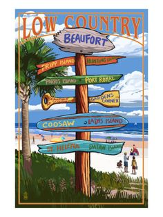 Beaufort, South Carolina - Sign Destinations Premium Poster