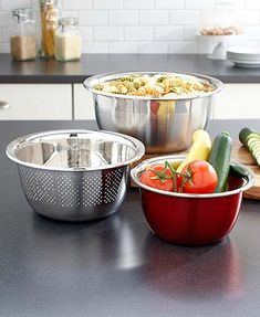 3-Pc. Stainless Steel Bowl Colander Sets