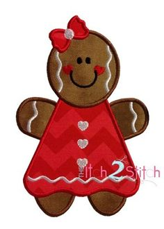 Gingerbread Girl Applique Design In Hoop Sizes Gingerbread Ornaments, Christmas Gingerbread, Felt Christmas, Christmas Crafts, Xmas, Applique Templates, Applique Patterns, Applique Designs, Christmas Applique