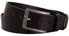 Mannice Men's Genuine Leather Waistband Belt with Metal Buckle Dark Brown