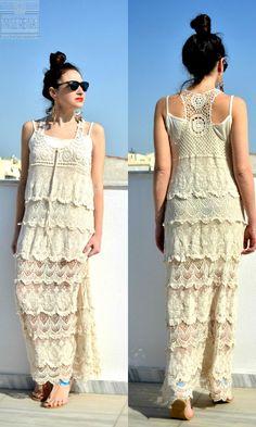 Aμάνικο boho φόρεμα με δαντέλα