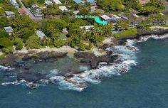 Aerial view of Hale Pohaku condo (blue arrow), with Turtle Lagoon to the left.