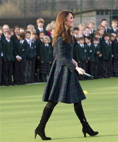 The Duchess in Alexander McQueen black watch plaid.
