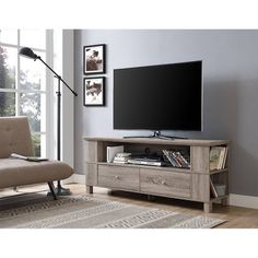 Driftwood Wood TV Stand for TVs up to 65 inch, Beige