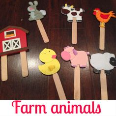 Farm Animal Craft Sticks $5 for supplies, 5 minutes to make…keeps the little one busy for a while