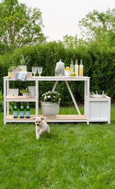 This outdoor piece is a great multi-functional station for your outdoor living space. It could be utilized as a bar with drink/ice bucket, potting bench with soil or BBQ prep station with herb planter. It features open shelving for storage and easy access to glassware and other outdoor prep items.