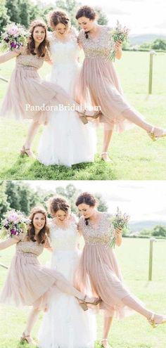 c20087c0df72b Charming V-Neck Top Sequin Short Sleeve Short A-Line Tulle Bridesmaid  Dresses #