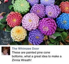 How To Turn Pine Cones Into Lovely Zinnia Flowers Crafts To Make, Kids Crafts, Craft Projects, Arts And Crafts, Pine Cone Crafts For Kids, Pinecone Crafts Kids, Kids Diy, Craft Tutorials, Pine Cone Art