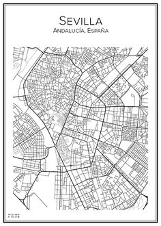 Sevilla. Andalusia. Spain. Poster. City print. Affisch. Tavla.