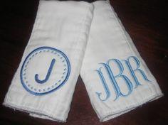 TWO Monogrammed Burp Cloths Classic by uniquelyyourboutique, $18.00