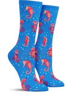 Seahorses Fun Novelty Animal Socks for Women, in Pink