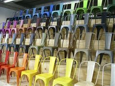This gave me an idea. Dining room chairs painted in different colors, maybe ombre in one color. Or rainbow! Who knows? The possibilities are endless.