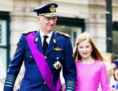 royalwatcher:  Belgium National Day July 21, 2015-King Philippe and his heir Princess Elisabeth, Duchess of Brabant