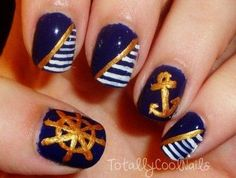 Blue and Gold Nautical Nails - Independence Day