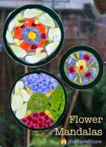 Nature crafts for kids - flower mandalas