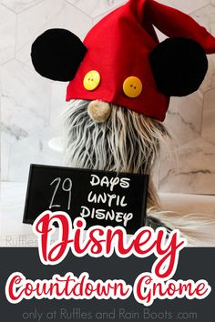 I cannot wait to surprise my kids with this cute Disney countdown Mickey gnome! It's so adorable and they'll love counting down the days to our Disney vacation with this little Mickey Mouse gnome to watch over us. Click here to see how to make this easy Disney crafts idea in minutes! #disneycrafts #mickeygnome #mickeymousegnome #rufflesandrainboots