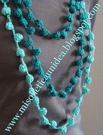 Mi Solletica Un' Idea: Campanelle Tutte In Fila - Diy Crafts - hadido Crochet Necklace Pattern, Crochet Jewelry Patterns, Crochet Accessories, Crochet Designs, Irish Crochet, Hand Crochet, Crochet Stitches, Knit Crochet, Crochet Pony