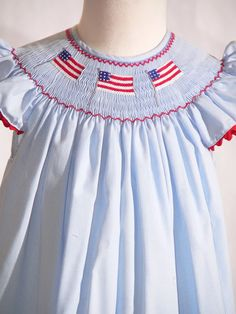 American Flag Smocked Bishop Dress by Mom N Me