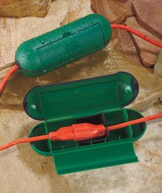 Setof 2 Extension Cord Safety Seals:Protect OUTDOOR Electrical Connections GREEN #tbd