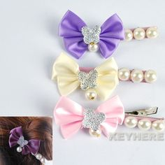 1PC Goth New  Vintage Bow bowknot Hair Clip With Pearl 3 Colors K0E1