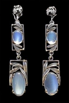Bernard Instone earrings, silver and moonstone. British, c. 1930.
