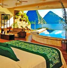 Jade Mountain, St. Lucia  definitely goes down as one of the coolest hotel rooms I've ever stayed in