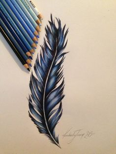 Feather design, prismacolor pencils in 2019 Feather Art, Feather Design, Feather Drawing, Tattoo Feather, Blue Feather, Feather Sketch, Arm Tattoo, Beautiful Drawings, Cool Drawings