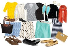 The little totefull of versatile options.  Cute outfits for travel-- and they all fit in one tote (or backpack ;).  Love this!