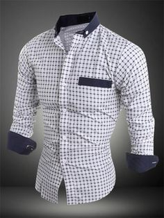 Men's Casual White Shirt 2018 Spread Collar Dot Print Block Color Long Sleeve Shirt Source by monghanabe Winter Fashion Outfits, Suit Fashion, Camisa Tribal, Moda Formal, Formal Shirts For Men, Slim Fit Dresses, African Men Fashion, Shirt Style, Men Dress