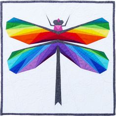 Gossamer Wings dragonfly paper piecing mini quilt pattern by Flying Parrot Quilts