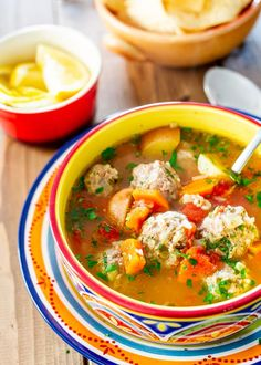 Albondigas Soup yummy An incredible Albondigas soup which is a traditional Mexican meatball soup loaded with vegetables and full of flavor. Mexican Meatball Soup, Mexican Meatballs, Mexican Chicken, Albondigas Soup Recipe Mexican, Mexican Shrimp, Vegan Meatballs, Mexican Food Recipes, Dinner Recipes, Sauces