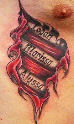 Super Ideas Tattoo Ideas For Kids Names For Men Tatoo Tattoos With Kids Names, Cool Tattoos For Guys, Family Tattoos, Trendy Tattoos, Kid Names, Diy Tattoo, Tattoo Ideas, Ripped Skin Tattoo, Tattoos Infinity