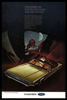 paperink id: ads158 1969 Ford Thunderbird 2 door Landau Sunroof Gold Black Roof Auto Moonlight AD This is a paper AD measuring approximately 6.75\