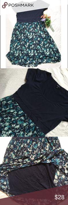 """Torrid2 layered floral navy dress Torrid2 layered floral navy dress. Bodycon like underskirt and mesh like floral layered top. Shoulder to hem 45"""" torrid Dresses"""