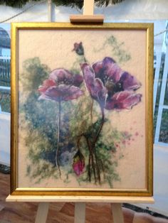 Papaver rhoeas Poppy flowers felted painting by DreamsGateway