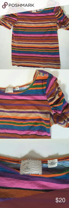 Posted from anthropology Horizontal strippes Puff sleeves button detail on shoulder preloved condition but no holes or stains 19 inches from armpit to armpit 22.5 inches from shoulder to bottom of shirt Anthropologie Tops Tees - Short Sleeve