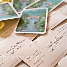 Kasia designed and printed the escort cards herself, making each one look like a vintage postcard. One side featured a painting of the Wainwright House, and the other side thanked guests for attending and directed them to their table number.
