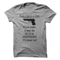 Dutch Shepherd Gun T-Shirts, Hoodies. CHECK PRICE ==► https://www.sunfrog.com/Pets/Dutch-Shepherd-Gun-T-Shirt.html?id=41382