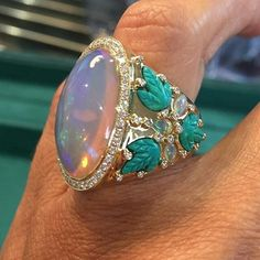 Amazing summer colours by @alexandraabramczykjewelery, featuring fascinating opals, carved turquoises, diamonds. @realmofjewellery