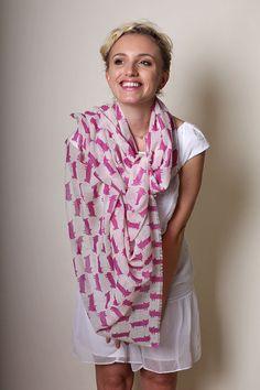 SALE Women's Hot Cat Soft Wool Scarf Vivacious Pink. by ANIKADALI