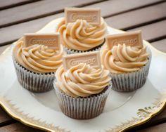 My homemade Caramac Cupcakes - delicious! Caramac Cake, Caramac Cupcakes, Caramac Cheesecake, Donut Recipes, Cupcake Recipes, Dessert Recipes, Cupcake Ideas, Baking Cupcakes, Cupcake Cakes