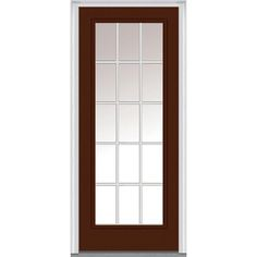 Milliken Millwork 37.5 in. x 81.75 in. Classic Clear Glass GBG Low-E Full Lite Painted Fiberglass Smooth Exterior Door, Redwood