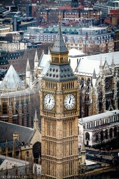London, Big Ben and Westminster Abbey in the  NE SW pespective