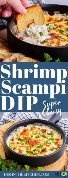 This baked hot and cheesy Shrimp Scampi Dip dip goes beyond delicious. It's a mouthwatering dip filled with all the flavours of the classic appetizer. #ShrimpScampiDip #ShrimpDip #Dip #appetizers Dip Appetizers, Easy Appetizer Recipes, Healthy Appetizers, Fish Recipes, Lunch Recipes, Seafood Recipes, Yummy Recipes, Salad Recipes, Shrimp Scampi Dip