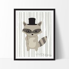 Hipster Woodland Raccoon Art Print, Nursery Decor by VividEditions.com