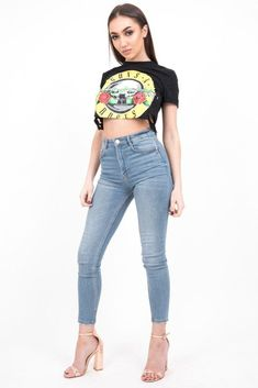 bc131becbafde9 Black Distressed Band Crop Top