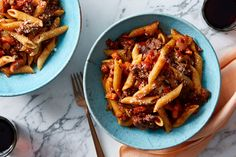 Penne Pasta & Beef Bolognese with Pecorino Cheese. Visit https://www.blueapron.com/ to receive the ingredients.