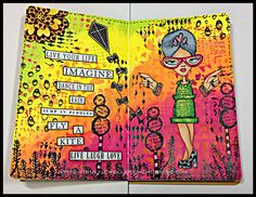 Fly A Kite, Art Journal, Mixed Media, Dylusions, Dyan Reaveley, Clearly Besotted, Inkylicious, Stamping, Stencils, Card-io