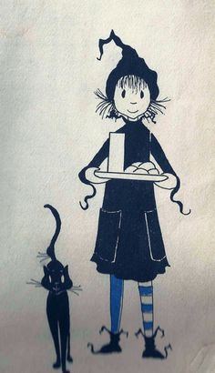 """'Dorrie and Gink' - From """"Dorrie and the Blue Witch"""" written and illustrated by Patricia Coombs (1964)"""