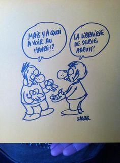 Retrouvé avec émotion, hier: le dessin de Charb réalisé lors de sa venue à la Galerne en 2012. | Librairie La Galerne